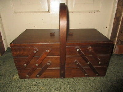 Vintage Expandable Accordion Wooden Sewing Box, Made in Romania