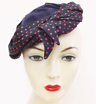 1940s Topper Hat Navy Red Wool Turban Ladies Vintage Accessories Style Fashion