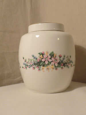 Royal Vale Lidded Vase with pink and yellow flowers