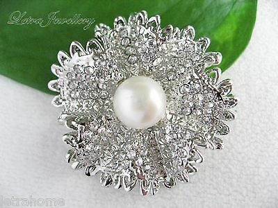 Vintage White Freshwater Pearl Platinum Plated Silver Flower Brooches Corsage