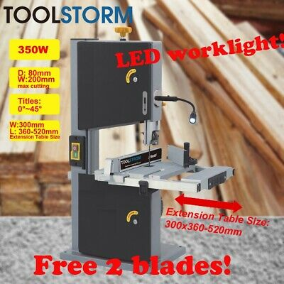 "200mm 8"" Bandsaw Wood Timber Cutting Table Drill Press Band Saw 350W W/LED light"