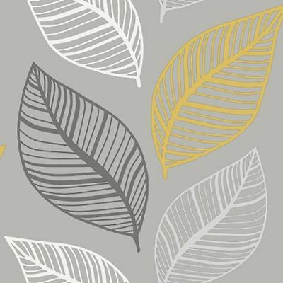 Crown Large Leaf Floral Wallpaper Yellow Charcoal Silver Metallic Glitter Effect