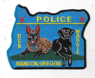 """Police Patch: Rex, Maggie Dogs K-9 Bandon, Oregon Police Patch 3 1/2"""" X 4"""""""