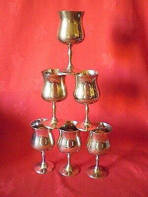 "Set Of Six Vintage Silver Plated ""epns"" 5"" Plain Goblets"