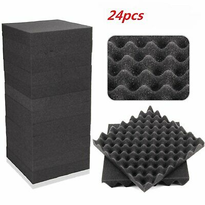 24pcs Egg Panels Absorption Acoustic Foam Tiles Studio Sound Proofing Treatment