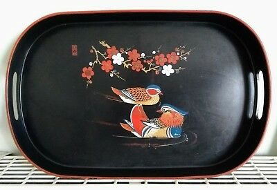 Vintage Retro Oriental Plastic Serving Tray With Birds & Flowers ~ Red Seal Mark