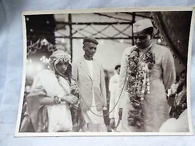! Antique Black & White Photo Indian Wedding Ceremony Beautiful And Genuine Rare