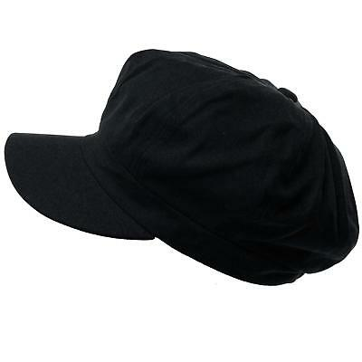 Summer 100% Cotton Plain Blank 6 Panel Newsboy Gatsby Apple Cabbie Cap Hat Black