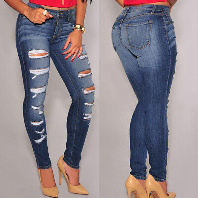 AU Women Stretch Ripped Distressed Skinny High Waisted Denim Pants Jeans Trouser
