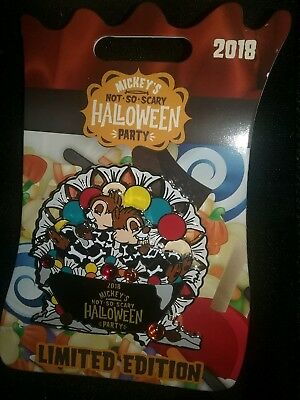 NEW Disney MNSSHP 2018 Halloween Party Chip And Dale Pin Limited Edition 4100
