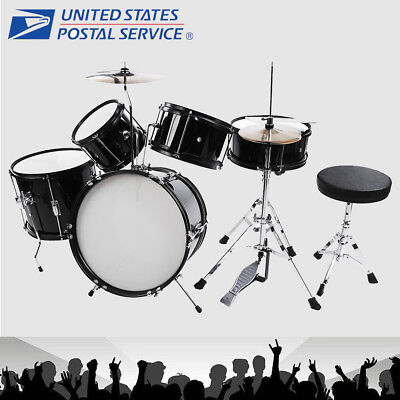 5 Piece Complete Drum Set Cymbals Kids Full Size Kit with Drum Stool Black