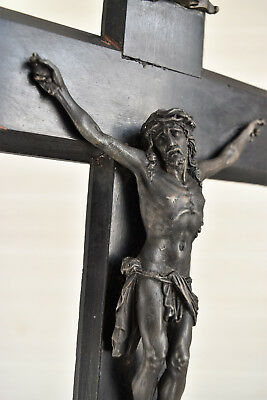 """antique French religious cross, tall crucifix 17.3/4"""",19 th century"""