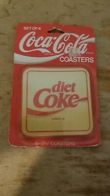 Vintage diet Coca-Cola Cork Backed Drink Coasters Coke Advertising Set of 6 NEW