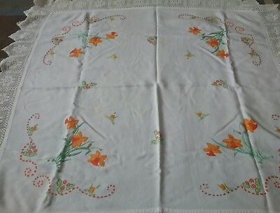 Vintage Linen Hand Embroided  Daffodil Tablecloth with hand crocheted edging.