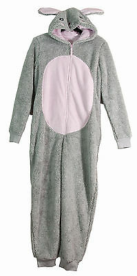 Girls Fleece All in One Hooded Grey Bunny Rabbit Playsuit Sizes Ages 1-2 Years
