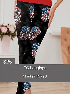 fcacca54e13a5d Brand New with Tags TC Flag Skulls Leggings Charlies Project Fits Sizes: 16  - 22
