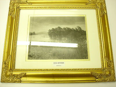 Rare Old 1888 Lithograph Frame Print Chill October Gebbie & co Good Shape LOOK