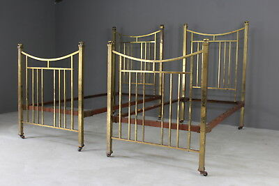 Pair Antique 3ft Single Brass Bed Frames
