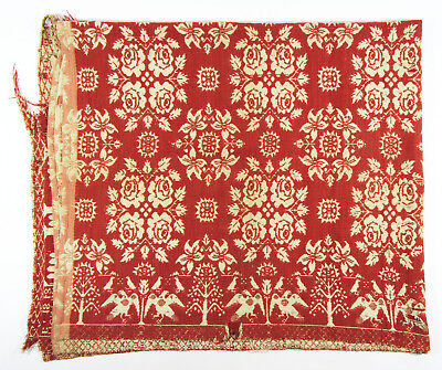 Antique 1848 woven coverlet Monterey NY red white Sarah Goodsell American folk