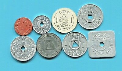 """Seven Beautiful Historical (Different States) Sales Tax Tokens + Red """"opa"""" Token"""