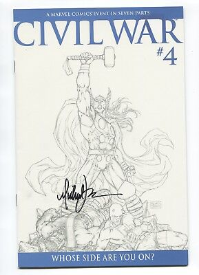 2006 Marvel Civil War #4 Michael Turner 1:75 Sketch Variant Cover Signed Nm D3
