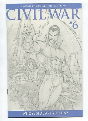 2006 Marvel Civil War #6 Michael Turner 1:75 Sketch Variant Near Mint+ 9.6 D3