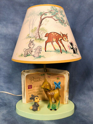 """Vintage 14"""" Disney Bambi and Thumper Lamp with Original Shade, Dolly Toy Company"""