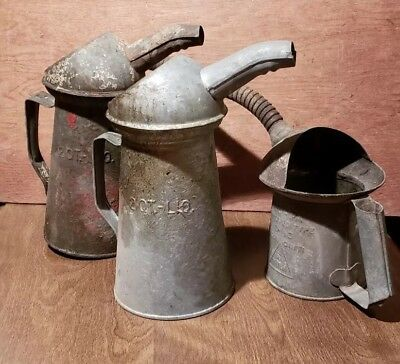 Lot Of 3 Vintage Galvanized Oil Cans With Spouts Gas Station Automotive Water
