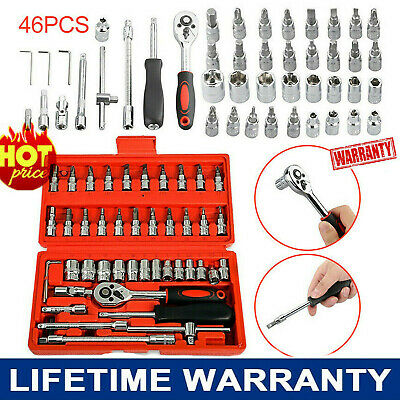 "46pcs 1/4"" Socket Ratchet Wrench Combo Tools Kit for Car Auto Repairing Set NEW"