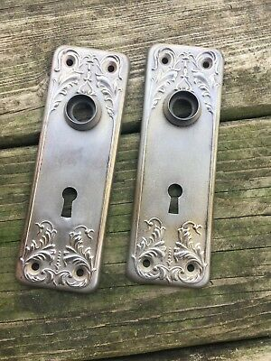 Vintage 2 Door Plates Art Deco Antique Reclaimed Hardware Re-purpose