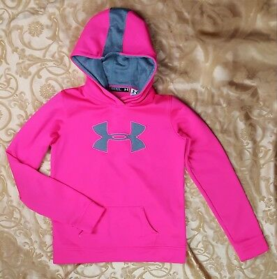 Under Armour Girls Youth Large Fleece Storm Big Logo Hoodie NWOT Hot Pink/Gray