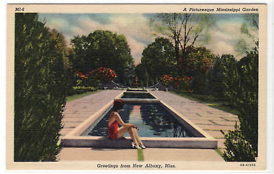 Picturesque Mississippi Garden New Albany MS vintage linen postcard Young Woman