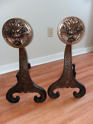 Arts and Crafts Period 1886 Bradley & Hubbard # 9509 Dragon Style Iron Andirons