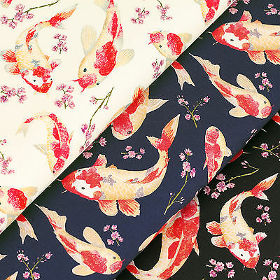 100% Cotton Fabric Fat Quarters Fish Floral Dress Quilting Patchwork Crafts VK2