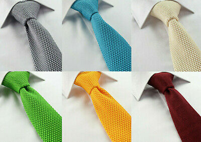 Mens Quality Knitted Ties Skinny Slim Red Green Orange Blue Pattern Solid Knit