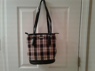 Longaberger black and tan checked purse. Very good condition!