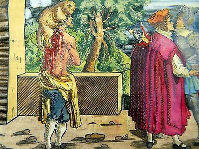 1532 Hans Weiditz - Master Woodcut - FROM FALSE FRIENDS - Hand coloured