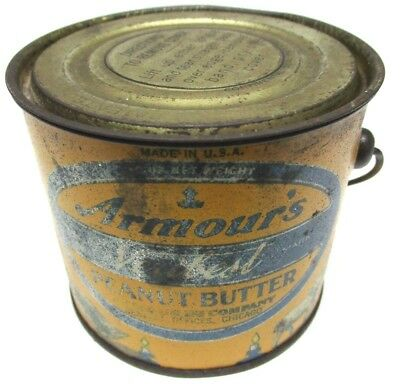 """3"""" Armour's Veribest Peanut Butter Advertising Tin Litho with Lid & Handle 12oz"""
