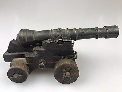"Vintage 16th Century 7"" Brass Ornate English Naval Cannon Desktop Replica Wooden"