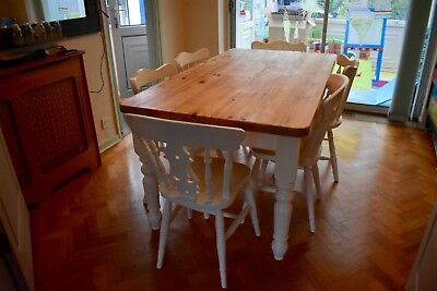 Dining / kitchen table and 6 chairs, shabby chic farmhouse style