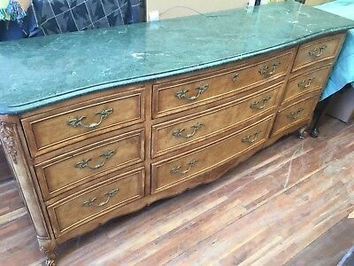 COUNTRY FRENCH Provencial with marble top 9 DRAWER DRESSER  BY KINDEL