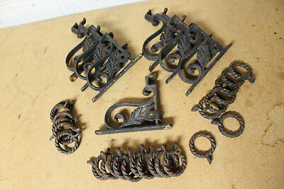 ANTIQUE Victorian WROUGHT IRON Arts Crafts Nouveau CURTAIN ROD Holder Brackets