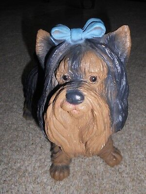 Yorkshire Terrier Black Tan Puppy Dog Blue Bow USA Art Statue Figurine 9X8X4