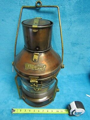 Large antique brass and copper anchor light beautiful condition take a LOOK