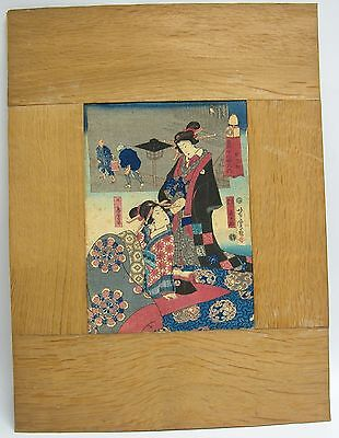 An Old Framed Beautiful Japanese Print Of A Geisha On Fabric
