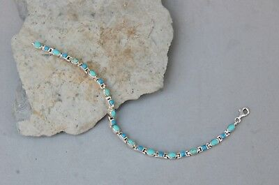 "Lapis & Turquoise Link Bracelet Sterling Silver Southwest Style 7 1/2"" x 1/8"" NF"