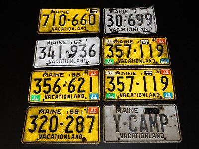 Lot 8 Vtg 1960's Maine State License Plates Vacationland Yellow Black Muscle Car