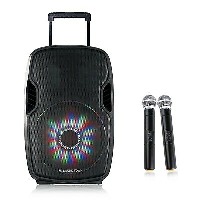 "Sound Town 15"" Portable PA System Karaoke Speaker Wireless Microphone Opik-15PS"