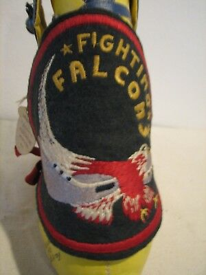 Vintage NAVY AIR FORCE FIGHTING FALCONS Wool Patch With Autograph Stuffed Mascot