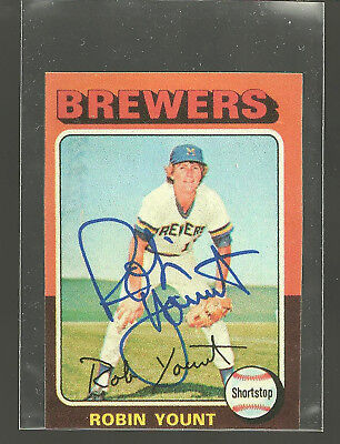 1975 Topps MINI 223 Signed Auto Robin Yount ROOKIE RC HOF Milwaukee Brewers Read